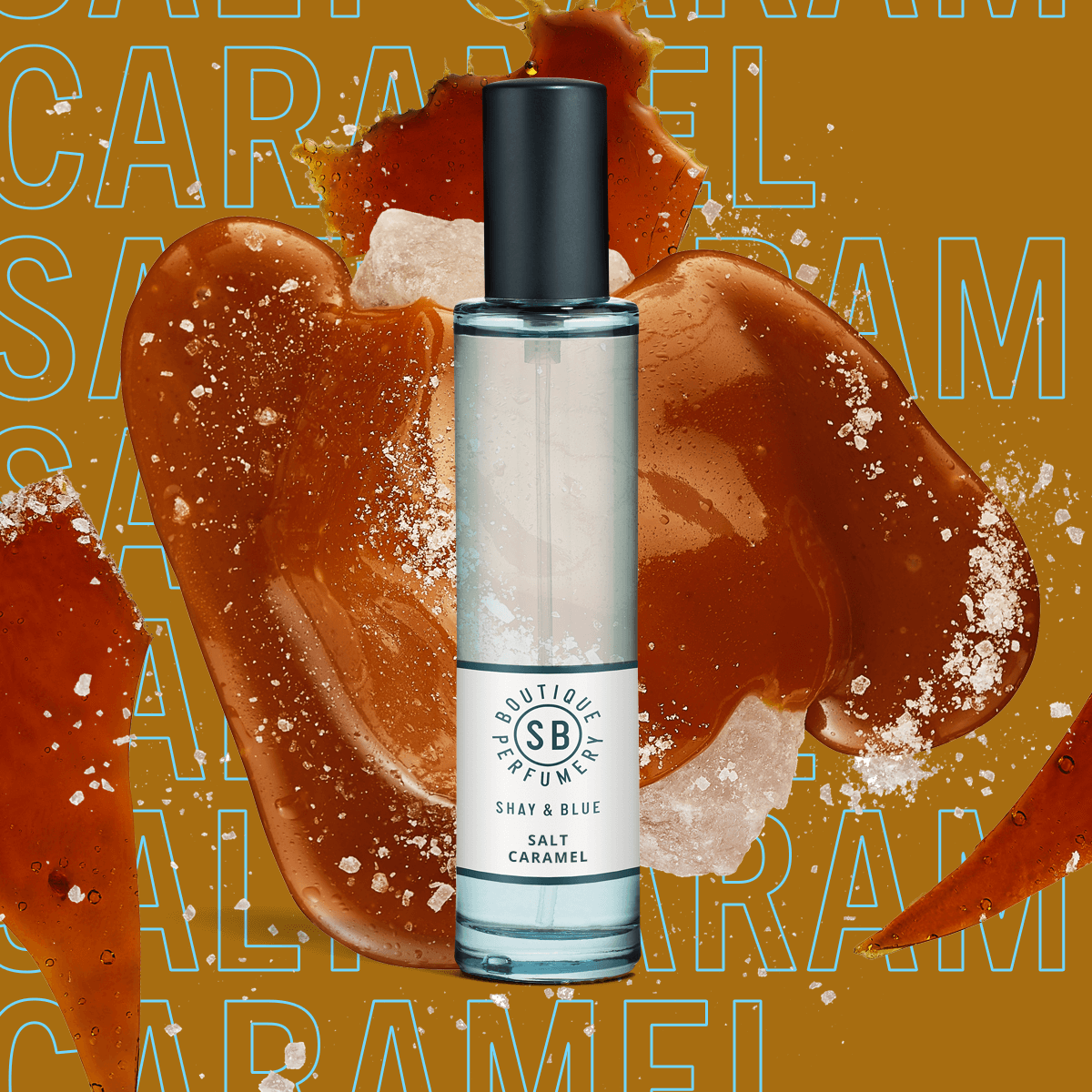 Salt Caramel Fragrance 30ml | Glossy caramel, tonka bean and soft sandalwood meld into deliciously frothy sea salt. | Clean All Gender Fragrance | Shay & Blue