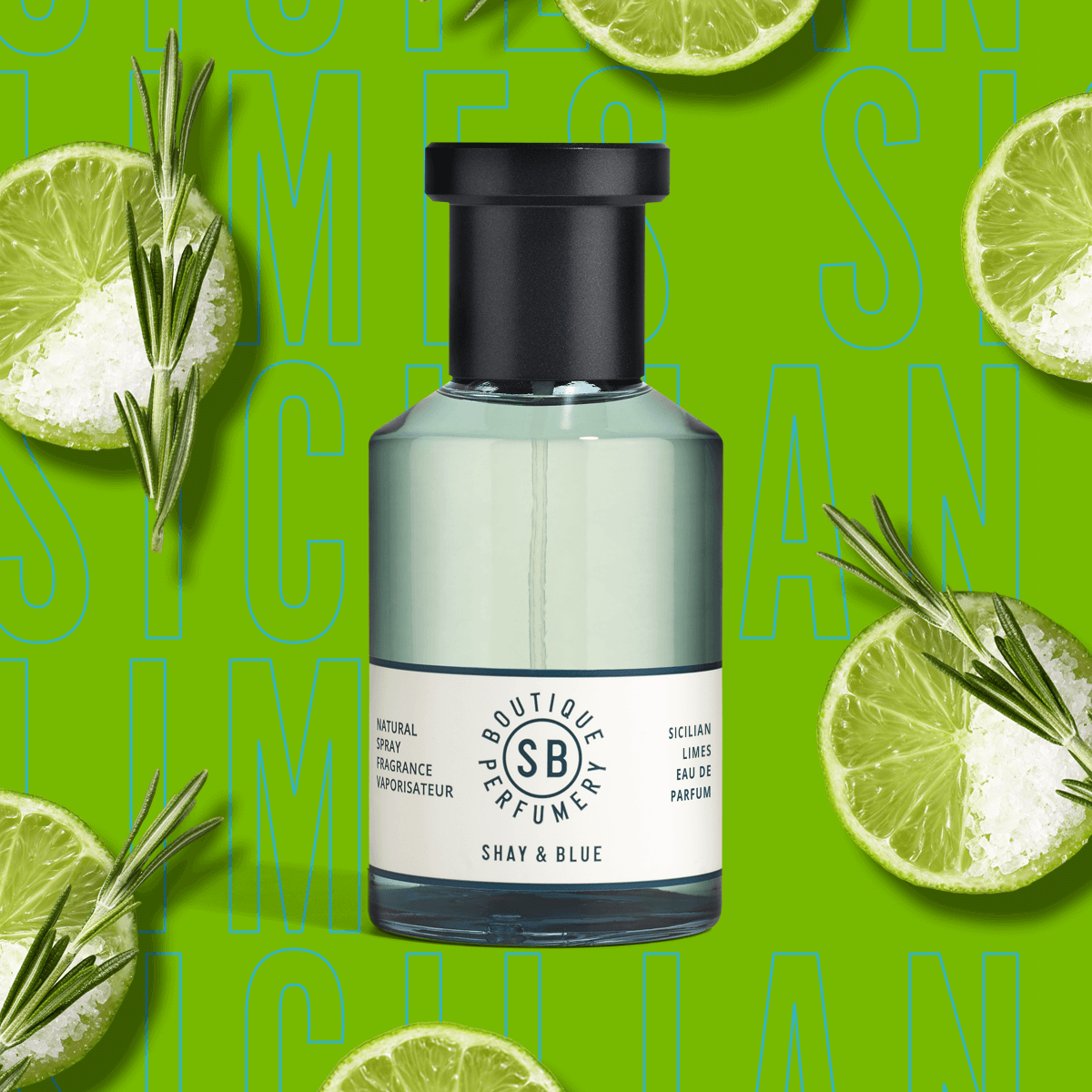 Sicilian Limes Fragrance 100ml | Tangy limes with a happy-hour hit of a salty margarita, rosemary and moss | Clean All Gender Fragrance | Shay & Blue