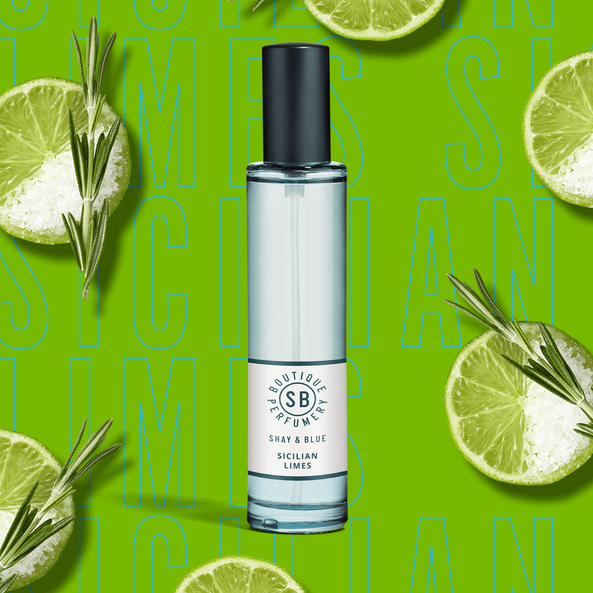 Sicilian Limes Fragrance 30ml | Tangy limes with a happy-hour hit of a salty margarita, rosemary and moss | Clean All Gender Fragrance | Shay & Blue