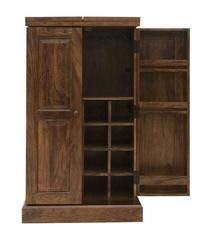 MP WOOD FURNITURE Sheesham Wood Bar Cabinet with Wine Glass Storage -Brown