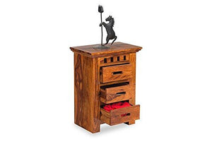 MP WOOD FURNITURE sheesham wood bedside table with 3 drawer - walnut - MP Wood Furniture