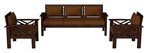 MP WOOD FURNITURE sheesham wood hamilton 5 seater sofa sets  3+1+1 - brown