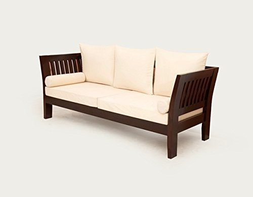 MP WOOD FURNITURE Sheesham wood 5 seater sofa sets - 3+1+1 - dark brown