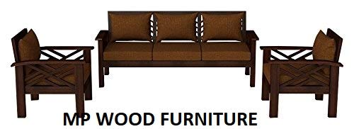 MP WOOD FURNITURE Sheesham wood 5 seater sofa sets 3+1+1 - matt finish, mahogany