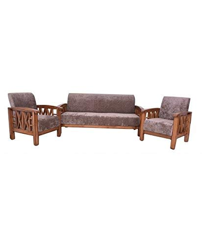 MP WOOD FURNITURE Sheesham wood 5 seater sofa sets  3+1+1 - dark brown