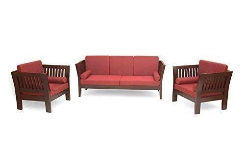 MP WOOD FURNITURE  Sheesham wood 5 seater sofa sets  3+1+1 - walnut brown - MP Wood Furniture