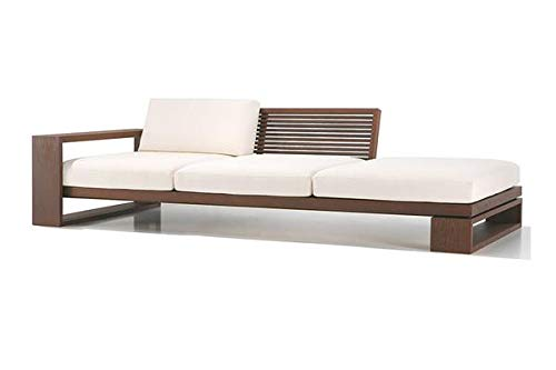 MP WOOD FURNITURE Sheesham wood capital lounger sofa set for living room - brown