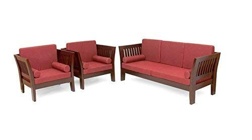 MP WOOD FURNITURE Sheesham wood 5 seater  sofa sets with cushion 3+1+1 - brown