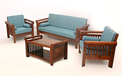 MP WOOD FURNITURE Sheesham wood 5 seater sofa sets 3+1+1 - brown