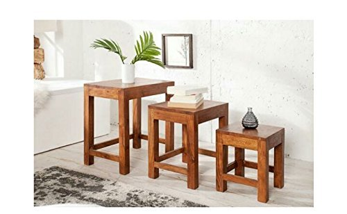 MP WOOD FURNITURE Sheesham wood 3 nesting tables - natural finsh - MP Wood Furniture