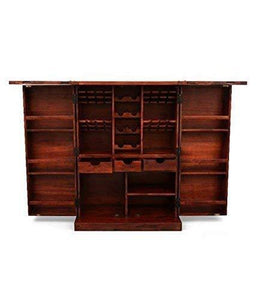 MP WOOD FURNITURE  Sheesham Wood Altavista Diamond Bar Cabinet -Teak Finish - MP Wood Furniture