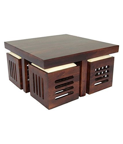 MP WOOD FURNITURE sheesham wood kuber center coffee Table with 4 Stools - Matt Polish Finish, Cream Cushion