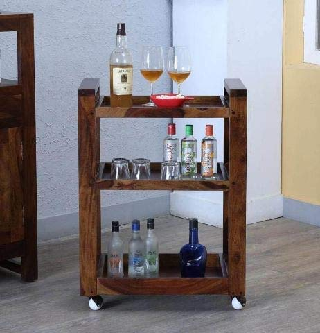 MP WOOD FURNITURE Sheesham Wood Bar Serving Trolley