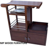 MP WOOD FURNITURE Sheesham Wood Bar Trolley