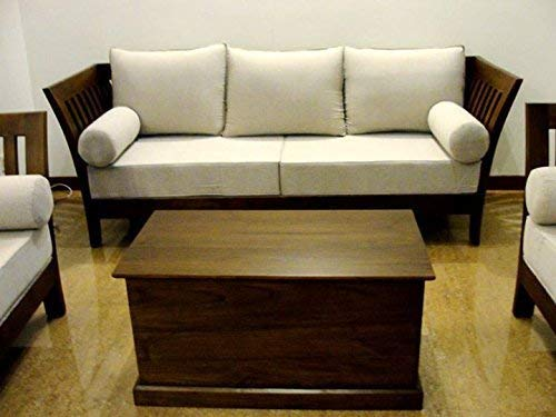 MP WOOD FURNITURE Sheesham wood 5 seater sofa sets  3+1+1 -  natural