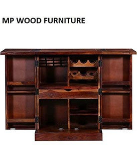 MP WOOD FURNITURE  Wooden Bar Cabinet Liquor with Wine Glass Storage - MP Wood Furniture