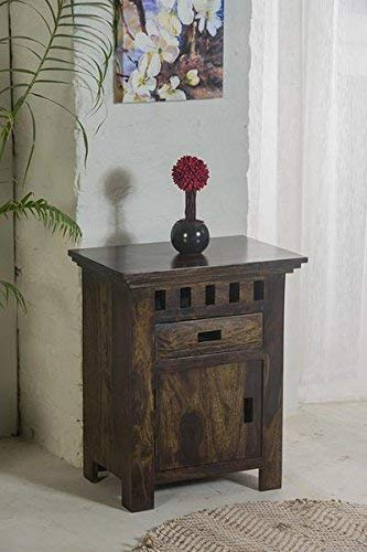 MP WOOD FURNITURE sheesham wood kuber bedside table with 2 drawer - MP Wood Furniture