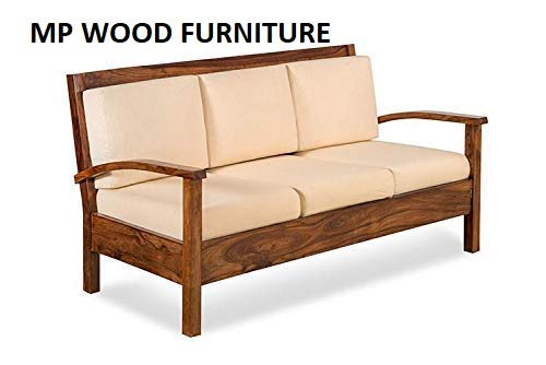 MP WOOD FURNITURE sheesham wood sofa 3 seater set - walnut finish - MP Wood Furniture
