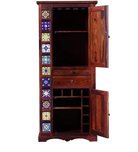 MP WOOD FURNITURE Sheesham Wood Home Bar Cabinet - Natural Brown Finish - MP Wood Furniture
