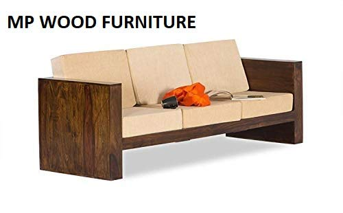 MP WOOD FURNITURE Sheesham wood  3 seater sofa sets - walnut - MP Wood Furniture
