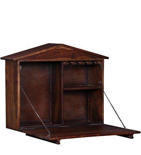 MP WOOD FURNITURE Sheesham Wood Wall Bar Cabinet -Teak