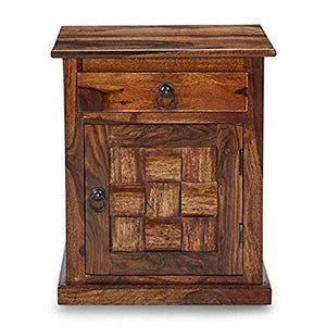 MP WOOD FURNITURE sheesham wood bedside table - finish natural