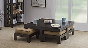 MP WOOD FURNITURE sheesham wood center coffee Table with 4 Stools - MP Wood Furniture