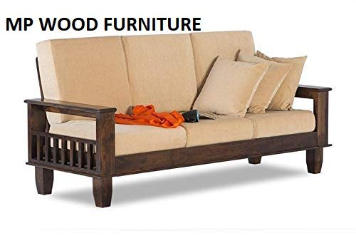 MP WOOD FURNITURE sheesham wood jodhpur sofa 3 seater set - walnut finish - MP Wood Furniture