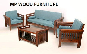 MP WOOD FURNITURE Sheesham wood 5 seater sofa set -3+1+1