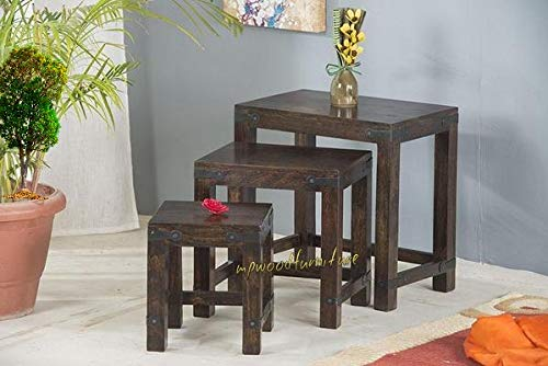 MP WOOD FURNITURE Sheesham wood 3 nesting tables - brown