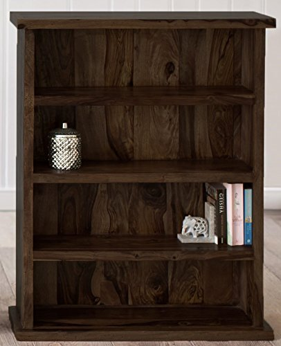 Mp Wood Furniture Sheesham Wood Bookshelf -Walnut Finish - MP Wood Furniture