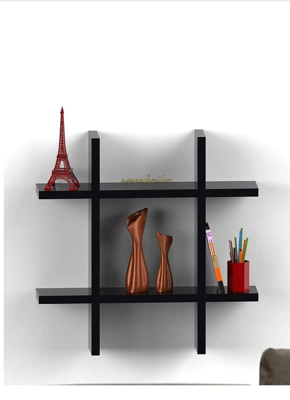 MP WOOD FURNITURE Sheesham wood wall shelf storage - black - MP Wood Furniture