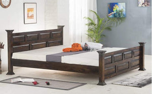 MP WOOD FURNITURE Sheesham wood queen size bed - Walnut Finish