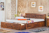 MP WOOD FURNITURE Sheesham wood bed with storage - Dark Brown Finish