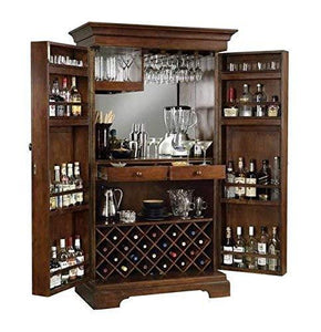 MP WOOD FURNITURE  Sheesham Wood Bar Cabinet with Wine Glass Storage - Brown - MP Wood Furniture