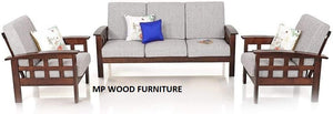MP WOOD FURNITURE Sheesham wood 5 seater sofa set (3+1+1) - MP Wood Furniture