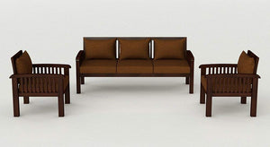 MP WOOD FURNITURE Sheesham wood 5 seater sofa sets 3+1+1 - mahogany