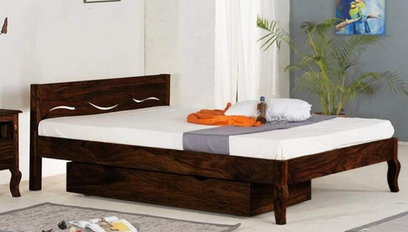 MP WOOD FURNITURE Sheesham wood queen size bed with drawer storage - Honey Finish