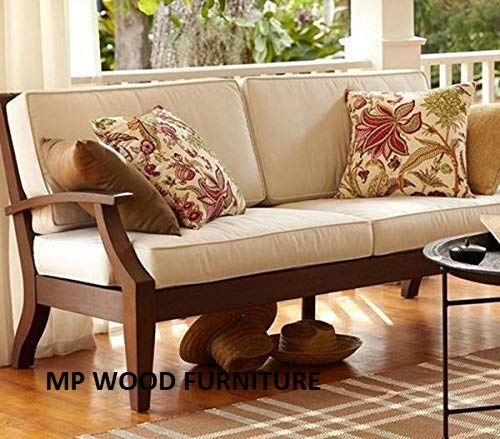 MP WOOD FURNITURE sheesham wood mayor sofa set for living room - brown