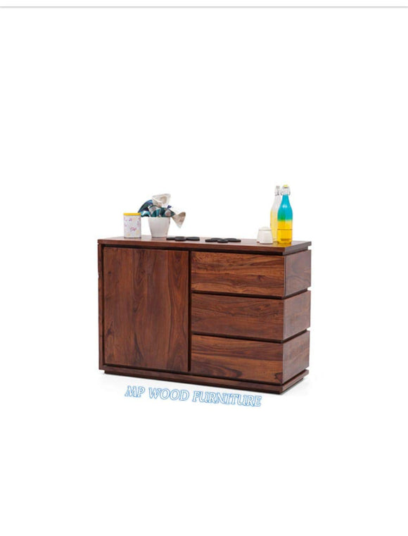 MP WOOD FURNITURE sheesham wooden 3 drawers 1 door wide sideboard - brown - MP Wood Furniture