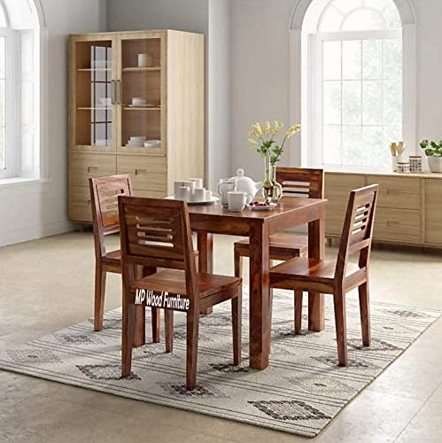 MP WOOD Furniture Sheesham Wood 4 Seater Dining Set - Natural Teak Finish