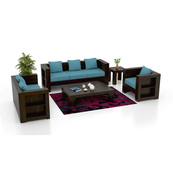 MP WOOD FURNITURE  Sheesham wood victorian fabric 5 seater sofa sets 3+1+1 - marine blue - MP Wood Furniture