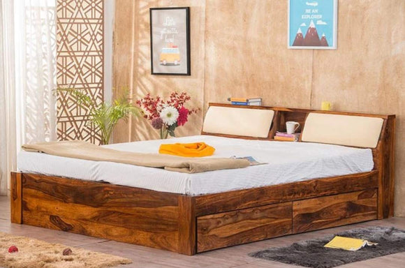 MP WOOD FURNITURE Sheesham wood king size bed with box storage - Provincial Teak Finish