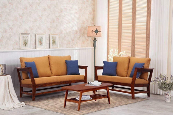 MP WOOD FURNITURE Sheesham wood  5 seater sofa sets  - brown