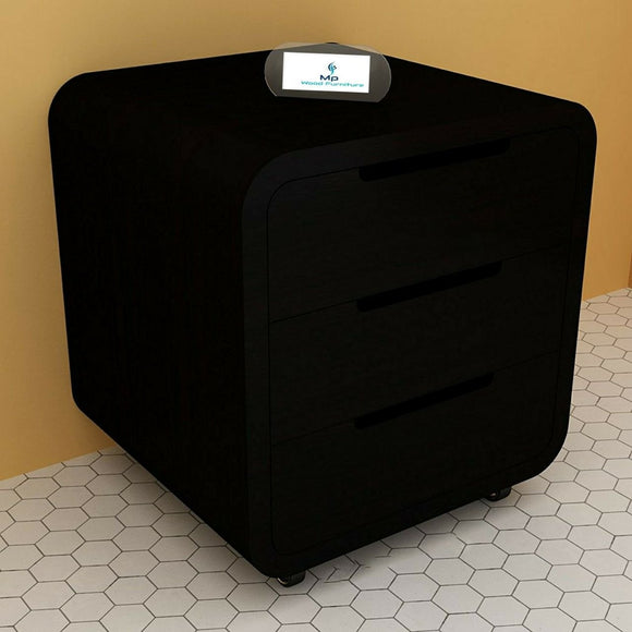 MP WOOD FURNITURE sheesham wood bedside table with 3 drawer - black