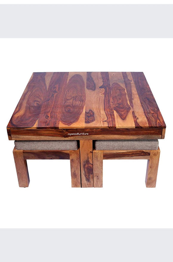 MP WOOD FURNITURE sheesham wood Square center coffee Table with 4 stools