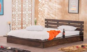 MP WOOD FURNITURE Sheesham wood queen size bed - Honey Finish - MP Wood Furniture