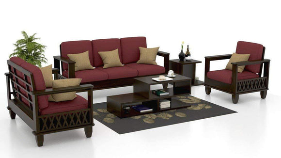MP WOOD FURNITURE  Sheesham wood fabric 5 seater sofa sets 3+2+1 - maroon - MP Wood Furniture