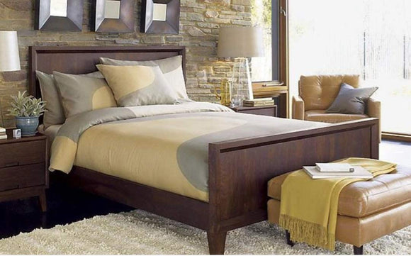 MP WOOD FURNITURE Sheesham wood king size bed - Walnut Finish