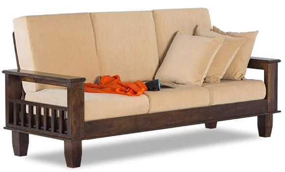MP WOOD FURNITURE Sheesham wood 3 seater sofa with cushions -  (walnut brown) - MP Wood Furniture